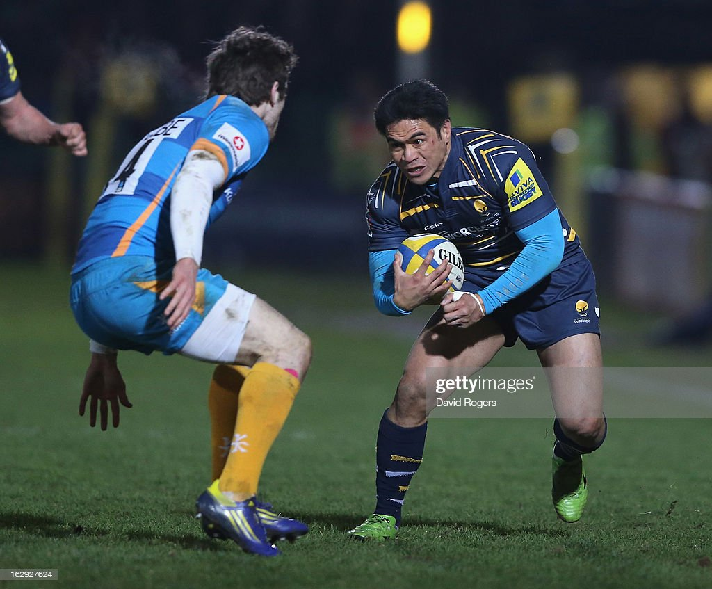 <a gi-track='captionPersonalityLinkClicked' href=/galleries/search?phrase=David+Lemi&family=editorial&specificpeople=696002 ng-click='$event.stopPropagation()'>David Lemi</a> of Worcester takes on Elliot Daly during the Aviva Premiership match between Worcester Warriors and London Wasps at Sixways Stadium on March 1, 2013 in Worcester, England.