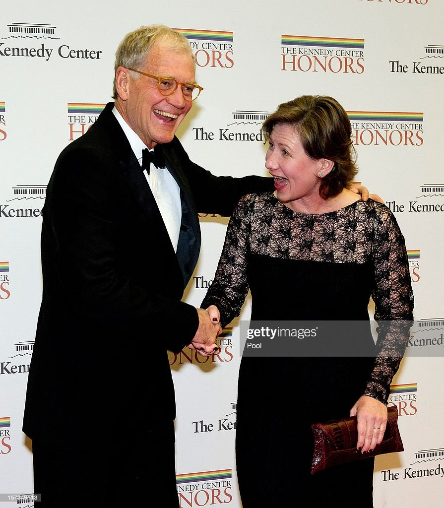<a gi-track='captionPersonalityLinkClicked' href=/galleries/search?phrase=David+Letterman+-+Television+Host&family=editorial&specificpeople=171322 ng-click='$event.stopPropagation()'>David Letterman</a> and his wife, Regina arrive for a dinner for Kennedy honorees hosted by U.S. Secretary of State Hillary Rodham Clinton at the U.S. Department of State on December 1, 2012 in Washington, DC. The 2012 honorees are Buddy Guy, actor Dustin Hoffman, late-night host <a gi-track='captionPersonalityLinkClicked' href=/galleries/search?phrase=David+Letterman+-+Television+Host&family=editorial&specificpeople=171322 ng-click='$event.stopPropagation()'>David Letterman</a>, dancer Natalia Makarova, and members of the British rock band Led Zeppelin Robert Plant, Jimmy Page, and John Paul Jones.