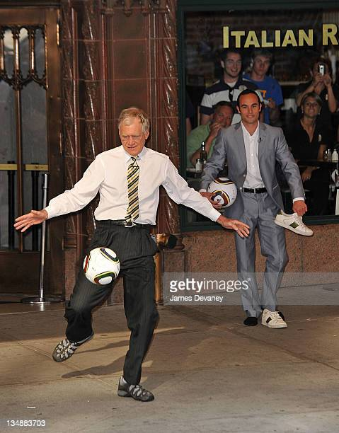 David Letterman and Landon Donovan film outside Ed Sullivan Theater for 'Late Show With David Letterman' on June 29 2010 in New York City