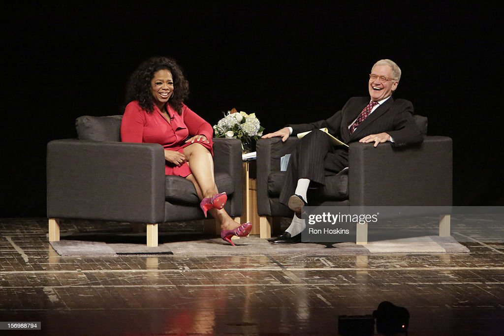 <a gi-track='captionPersonalityLinkClicked' href=/galleries/search?phrase=David+Letterman+-+Television+Host&family=editorial&specificpeople=171322 ng-click='$event.stopPropagation()'>David Letterman</a> (R) and <a gi-track='captionPersonalityLinkClicked' href=/galleries/search?phrase=Oprah+Winfrey&family=editorial&specificpeople=171750 ng-click='$event.stopPropagation()'>Oprah Winfrey</a> attend 'A Conversation With <a gi-track='captionPersonalityLinkClicked' href=/galleries/search?phrase=David+Letterman+-+Television+Host&family=editorial&specificpeople=171322 ng-click='$event.stopPropagation()'>David Letterman</a> And <a gi-track='captionPersonalityLinkClicked' href=/galleries/search?phrase=Oprah+Winfrey&family=editorial&specificpeople=171750 ng-click='$event.stopPropagation()'>Oprah Winfrey</a>' at Ball State University on November 26, 2012 in Muncie, Indiana.