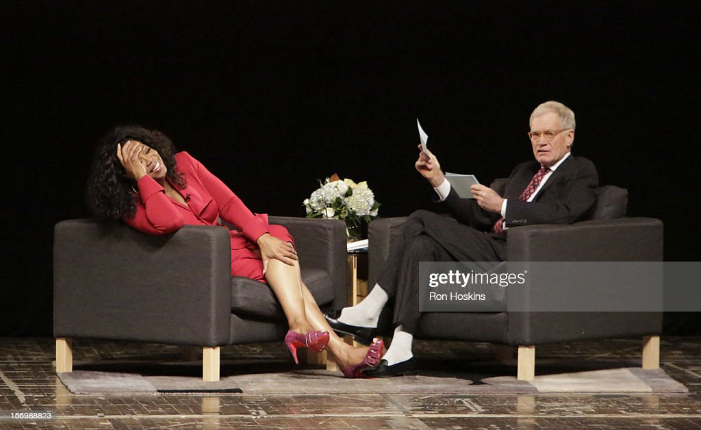 David Letterman (R) and Oprah Winfrey attend 'A Conversation With David Letterman And Oprah Winfrey' at Ball State University on November 26, 2012 in Muncie, Indiana.