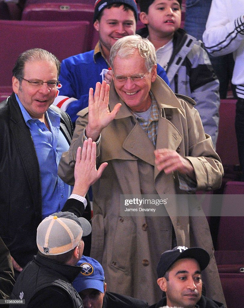 David Letterman attends the Buffalo Sabres vs New York Rangers game at Madison Square Garden on November 11 2010 in New York City