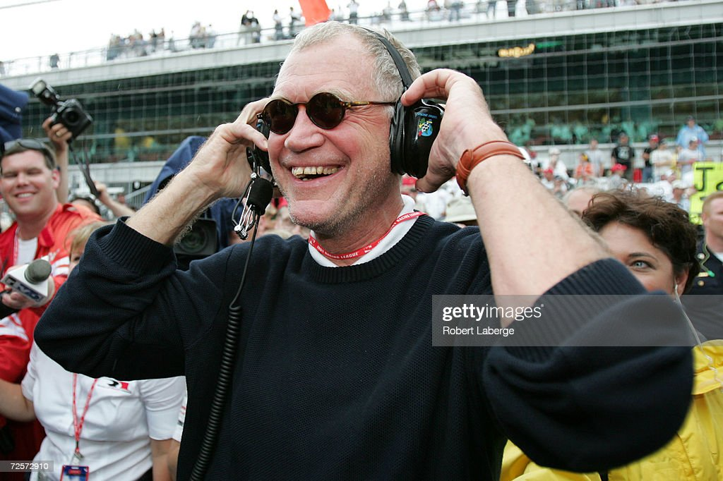 David Letterman, co-owner of the #15 Rahal-Letterman Argent/Pioneer G Force Honda of Buddy Rice, smiles when the rain started to fall and cause the race to be shortened and Rice to win the 88th running of the Indianapolis 500 part of the IRL IndyCar Series May 30, 2004 at the Indianapolis Motor Speedway in Indianapolis, Indiana.