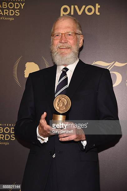 David Letterman poses with award during The 75th Annual Peabody Awards Ceremony at Cipriani Wall Street on May 21 2016 in New York City