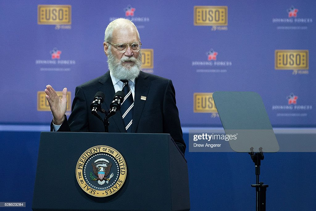 David Letterman speaks during a comedy show organized by United Services Organizations (USO) for members of the military and their families, at Andrews Air Force Base, May 5, 2016, in Joint Base Andrews, Maryland. The program is also being live streamed for active duty service members stationed at bases domestically and abroad.