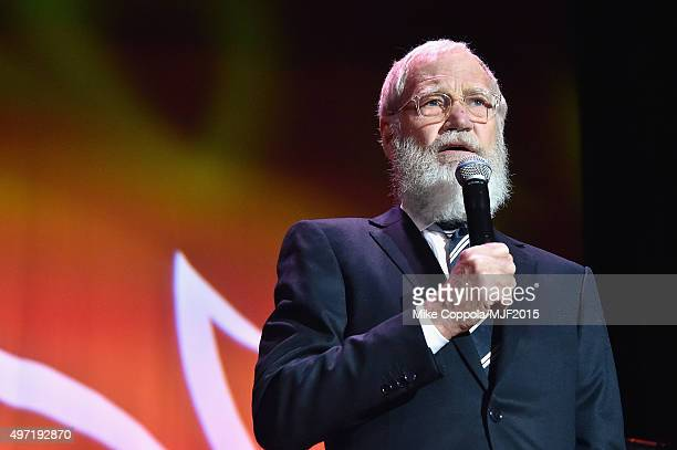 "David Letterman speaks onstage during the Michael J Fox Foundation ""A Funny Thing Happened On The Way To Cure Parkinson's"" Gala at The..."