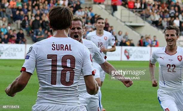 David Limbersky of Czech Republic celebrates with his teammate after he scored during the Euro 2016 qualifying football match between Latvia and...