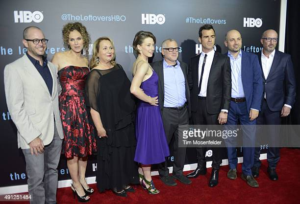 David Lindelof Amy Brenneman Mimi Leder Carrie Coon Tom Perrotta Justin Theroux and Tom Spezialy attend HBO's 'The Leftovers' Season 2 Premiere...