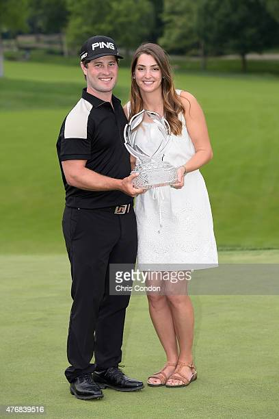 David Lingmerth and Megan Lingmerth pose with the tournament trophy after Lingmerth wins the Memorial Tournament presented by Nationwide at Muirfield...