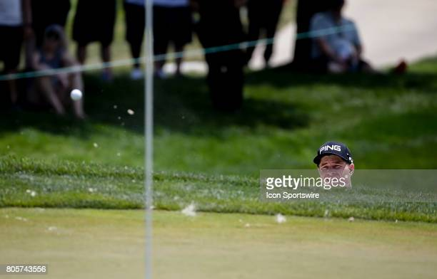 David Lingmerth chips out of the sand onto the 1st green during the third round of the Quicken Loans National on July 01 2017 at TPC Potomac at...