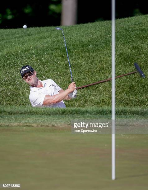 David Lingmerth comes out of the sand bunker around the 8th green during the third round of the Quicken Loans National on July 01 2017 at TPC Potomac...