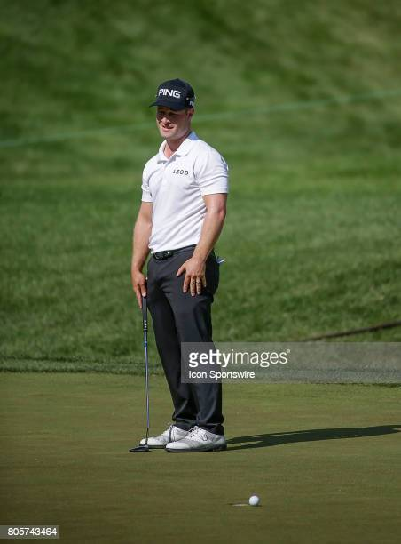 David Lingmerth just misses his putt on the 7th green during the third round of the Quicken Loans National on July 01 2017 at TPC Potomac at Avenel...