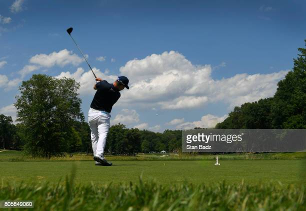 David Lingmerth of Korea hits a drive on the fourth hole during the final round of the Quicken Loans National at TPC Potomac at Avenel Farm on July 2...