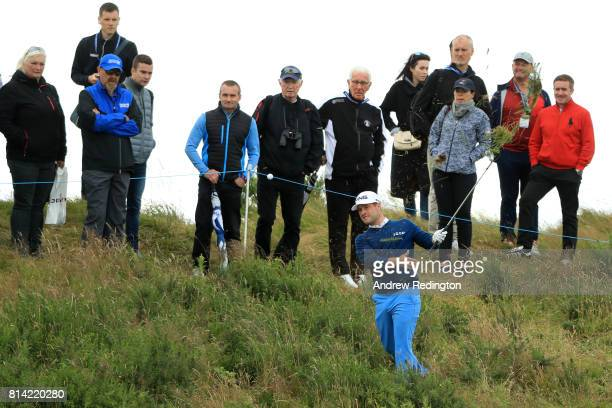 David Lingmerth of Sweden hits from the rough on the 18th hole during day two of the AAM Scottish Open at Dundonald Links Golf Course on July 14 2017...