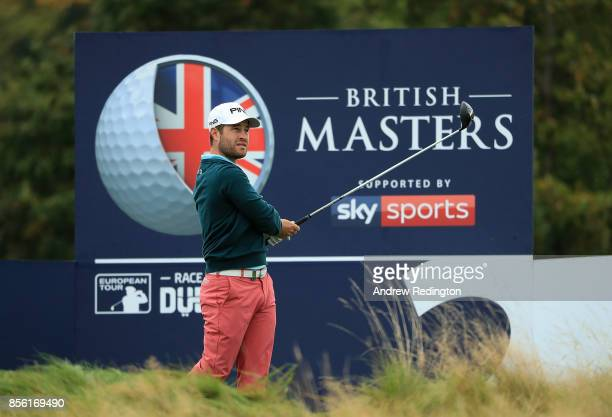David Lingmerth of Sweden hits his tee shot on the 2nd hole during day four of the British Masters at Close House Golf Club on October 1 2017 in...