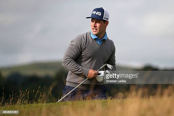 David Lingmerth of Sweden looks on from the 5th green during the first round of the 144th Open Championship at The Old Course on July 16 2015 in St...