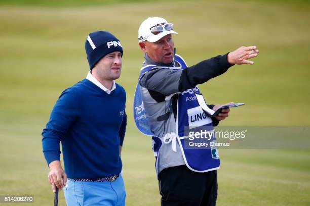 David Lingmerth of Sweden looks on with his caddie during day two of the AAM Scottish Open at Dundonald Links Golf Course on July 14 2017 in Troon...