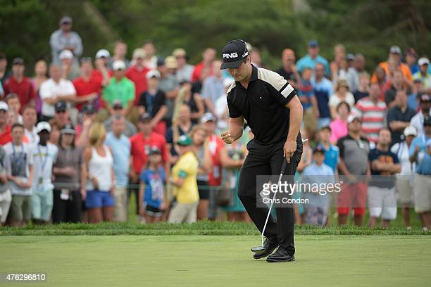 David Lingmerth of Sweden Makes a par putt to win the Memorial Tournament presented by Nationwide at Muirfield Village Golf Club on June 7 2015 in...