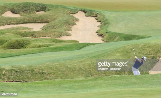 David Lingmerth of Sweden plays a shot on the 18th hole during a practice round prior to the 2017 US Open at Erin Hills on June 12 2017 in Hartford...