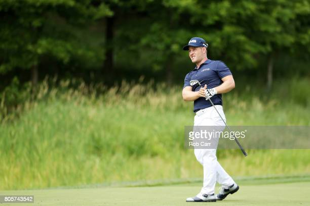 David Lingmerth of Sweden plays a shot on the sixth hole during the final round of the Quicken Loans National on July 2 2017 TPC Potomac in Potomac...