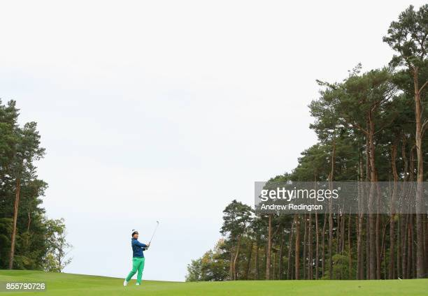 David Lingmerth of Sweden plays his second shot on the 12th hole during day three of the British Masters at Close House Golf Club on September 30...