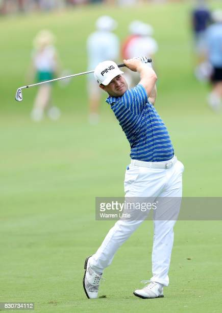 David Lingmerth of Sweden plays his second shot on the second hole during the third round of the 2017 PGA Championship at Quail Hollow Club on August...