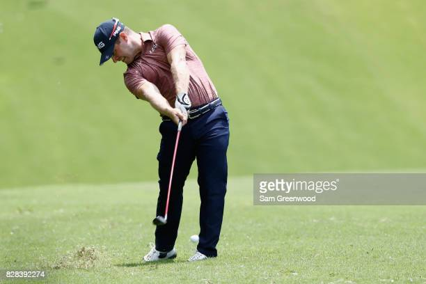 David Lingmerth of Sweden plays his shot during a practice round prior to the 2017 PGA Championship at Quail Hollow Club on August 9 2017 in...