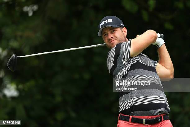David Lingmerth of Sweden plays his shot from the 16th tee during round one of the RBC Canadian Open at Glen Abbey Golf Club on July 27 2017 in...