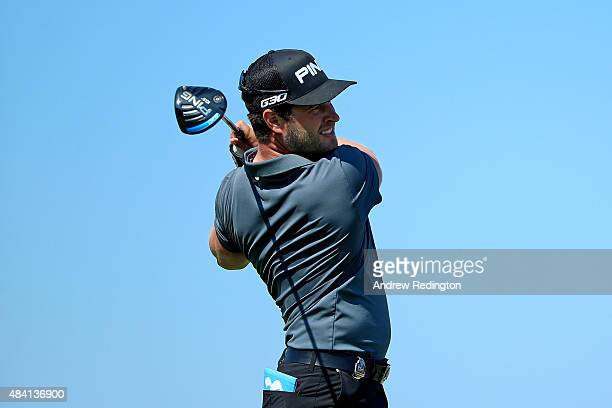 David Lingmerth of Sweden plays his shot from the first tee during the third round of the 2015 PGA Championship at Whistling Straits on August 15...