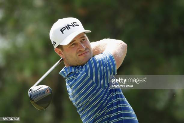 David Lingmerth of Sweden plays his shot from the third tee during the third round of the 2017 PGA Championship at Quail Hollow Club on August 12...
