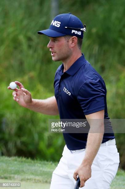 David Lingmerth of Sweden reacts on the sixth green during the final round of the Quicken Loans National on July 2 2017 TPC Potomac in Potomac...