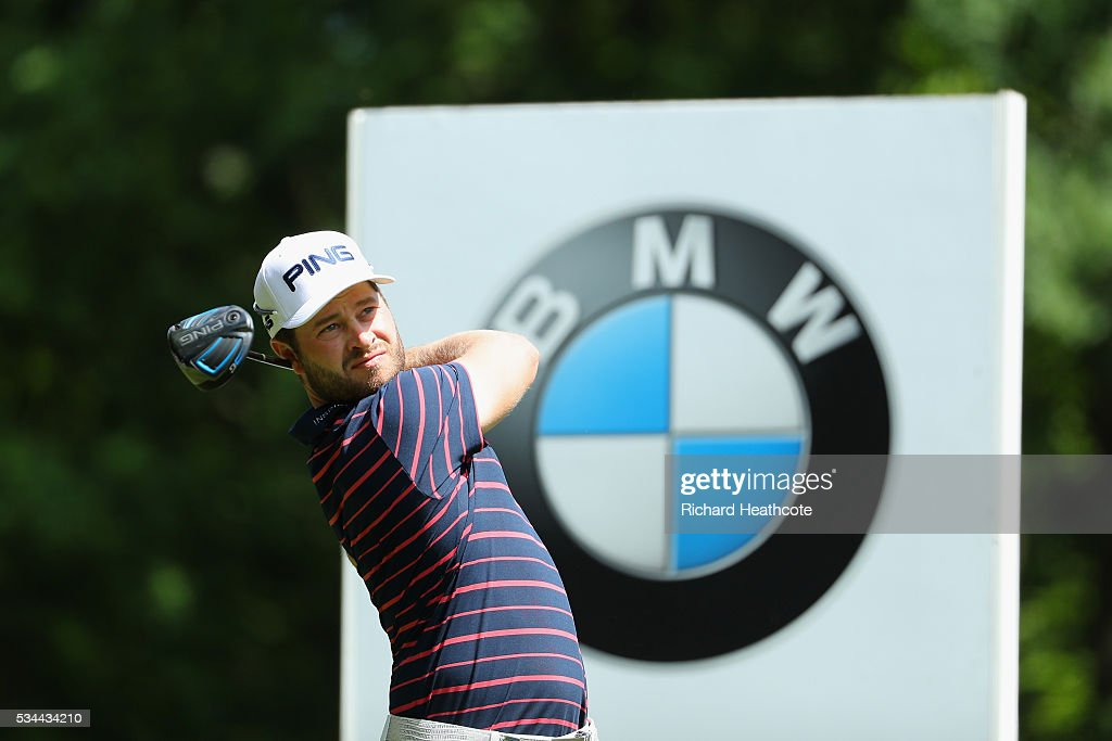 David Lingmerth of Sweden tees off during day one of the BMW PGA Championship at Wentworth on May 26, 2016 in Virginia Water, England.