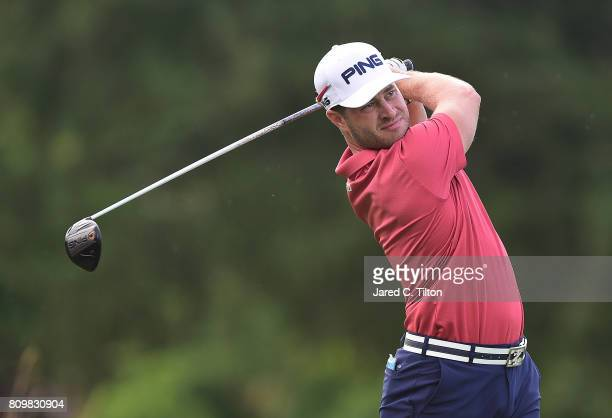 David Lingmerth of Sweden tees off the 11th hole during round one of The Greenbrier Classic held at the Old White TPC on July 6 2017 in White Sulphur...