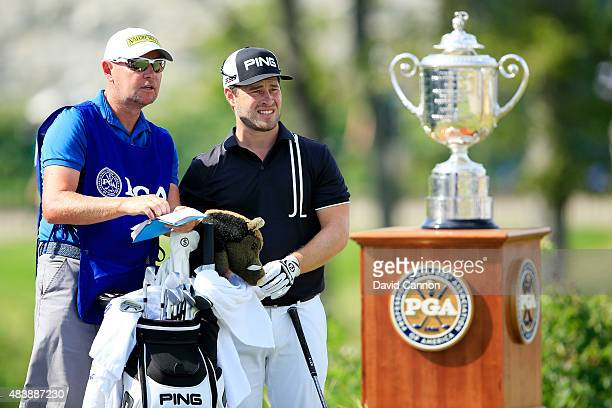 David Lingmerth of Sweden waits on the first tee with his caddie Tim Bulter during the first round of the 2015 PGA Championship at Whistling Straits...