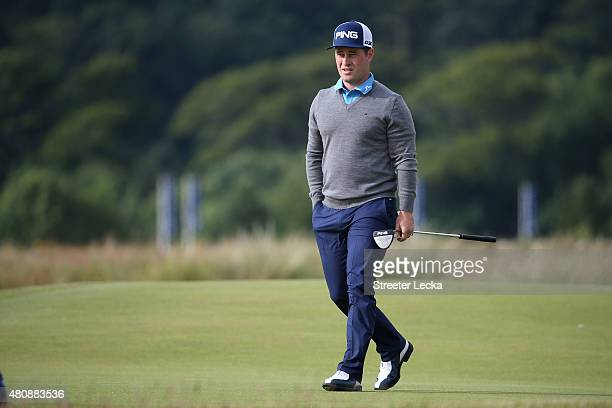 David Lingmerth of Sweden walks off the 5th green during the first round of the 144th Open Championship at The Old Course on July 16 2015 in St...
