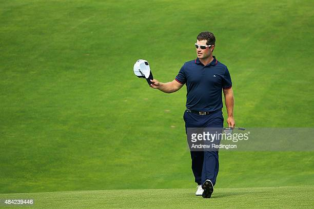 David Lingmerth of Sweden walks to the 18th green during the final round of the 2015 PGA Championship at Whistling Straits on August 16 2015 in...