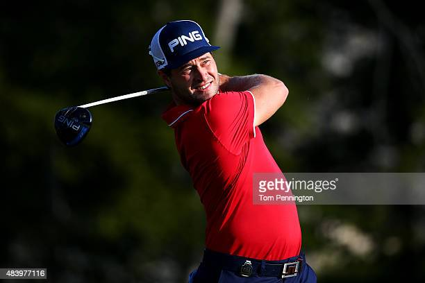 David Lingmerth of Sweden watches his tee shot on the first hole during the second round of the 2015 PGA Championship at Whistling Straits on August...