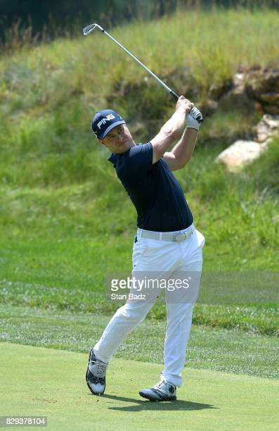 David Lingmerth plays a shot on the second hole during the final round of the Quicken Loans National at TPC Potomac at Avenel Farm on July 2 2017 in...