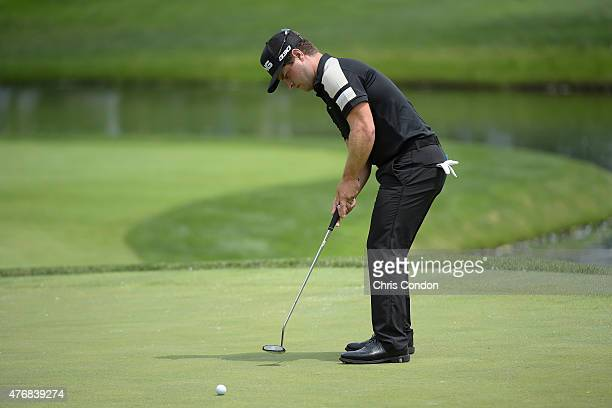 David Lingmerth putts on the 11th green during the final round of the Memorial Tournament presented by Nationwide at Muirfield Village Golf Club on...