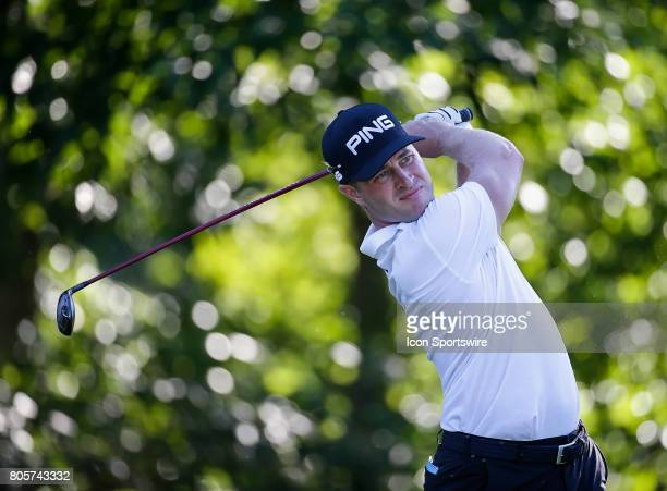 David Lingmerth tees off on the 13th hole during the third round of the Quicken Loans National on July 01 2017 at TPC Potomac at Avenel Farm in...