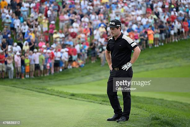 David Lingmerth waits to putt on the 18th green during the final round of the Memorial Tournament presented by Nationwide at Muirfield Village Golf...