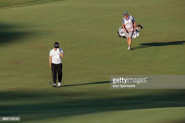 David Lingmerth walks up the 18th fairway during the third round of the Quicken Loans National on July 01 2017 at TPC Potomac at Avenel Farm in...