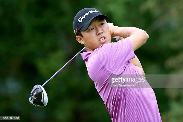 David Lipsky hits off the 13th tee during the first round of the World Golf Championships Bridgestone Invitational at Firestone Country Club South...