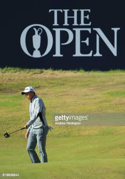 David Lipsky of the United States hits a putt on the 18th hole during the first round of the 146th Open Championship at Royal Birkdale on July 20...