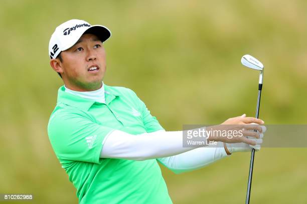 David Lipsky of the United States hits his second shot on the 8th hole during day two of the Dubai Duty Free Irish Open at Portstewart Golf Club on...
