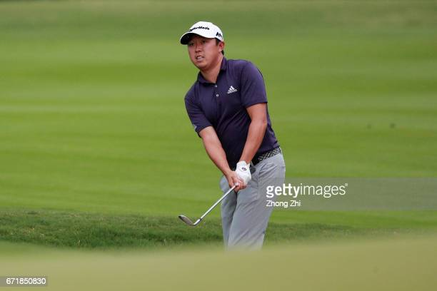 David Lipsky of the United States plays a shot during the final round of the Shenzhen International at Genzon Golf Club on April 22 2017 in Shenzhen...