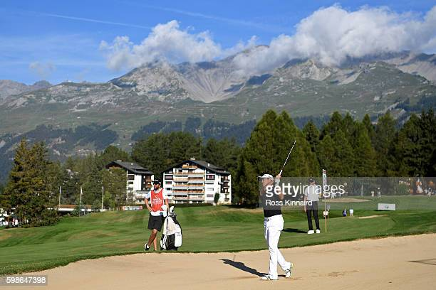 David Lipsky of the United States plays his second shot from a bunker on the 12th hole during the second round of the Omega European Masters at...