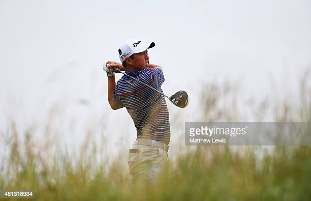 David Lipsky of the United States teees off on the 6th tee during the third round of the 144th Open Championship at The Old Course on July 19 2015 in...