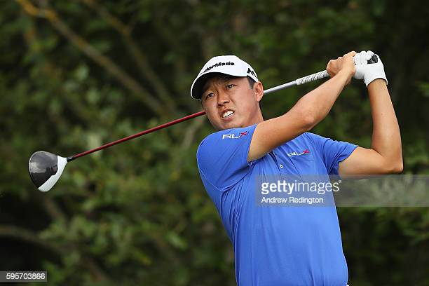 David Lipsky of the United States tees off on the 1st hole during the second round of Made in Denmark at Himmerland Golf Spa Resort on August 26 2016...