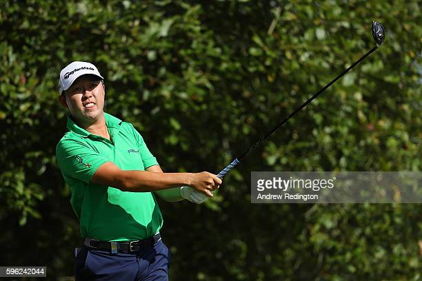 David Lipsky of the United States tees off on the 1st hole during the third round of Made in Denmark at Himmerland Golf Spa Resort on August 27 2016...